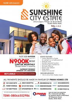 Sunshine City Estate (buy & Build) 15mins Drive From Asaba Airport, Umuwuagwu Village, By Ibusa Road, 15mins Drive From Asaba Airport, Asaba, Delta, Mixed-use Land for Sale
