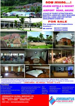 a Functional Hotel and Resort/tourist Center, Along Airport Road, Akure, Ondo, Hotel / Guest House for Sale
