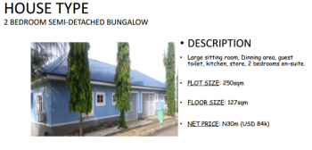 Finished 2 Bedroom Semi-detached Bungalow (pay 35% Down Payment & Take Possession), Plot 70, Behind Gwarimpa, Kafe, Abuja, Semi-detached Bungalow for Sale