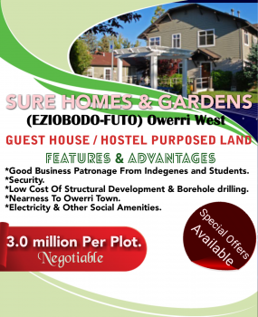 Plots of Land for Guest House Around Futo- Owerri, Along The Newly Constructed Ihiagwa, Eziobodo- Futo Road., Owerri West, Imo, Mixed-use Land for Sale