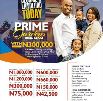 Prime Gardens Estate, Title: Registered Survey, Mafogunde Village, About 15 Mins Drive From La Campaigne Tropicana Resort., Akodo Ise, Ibeju Lekki, Lagos, Mixed-use Land for Sale