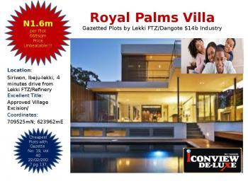 Royal Palms Villa. 100% Gazetted Genuine Dry Plots, Ibeju Lekki, Lagos, Mixed-use Land for Sale