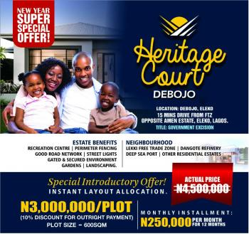 Land, Heritage Couts, About 15mins Drive From Lekki Free Trade Zone, Folu Ise, Ibeju Lekki, Lagos, Mixed-use Land for Sale