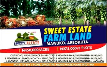 Farm Land, Mawuko, 10 Minutes After Funnab, Satellite Campus, Odeda, Ogun, Commercial Land for Sale