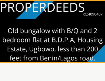 Old Bungalow with B/q and 2 Bedroom Flat, B.d.p.a, Housing Estate, Ugbowo; Less Than 200 Feet From Benin/lagos Road, Benin, Oredo, Edo, Detached Bungalow for Sale