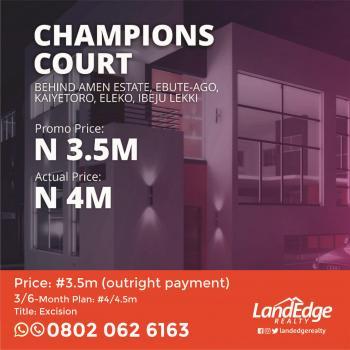 Land for Sale in Eleko. Champions Court Government Excision, Behind Amen Estate, Eleko, Ibeju Lekki, Lagos, Residential Land for Sale
