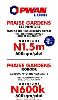 Dry Land, 2 Proposed New Airport Road, Eleranigbe, Ibeju Lekki, Lagos, Mixed-use Land Joint Venture