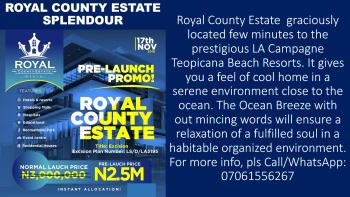 Royal County Estate, Ibeju, Lagos, Land for Sale
