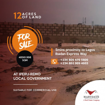 12 Acres of Land, Remo North, Ogun, Commercial Property for Sale