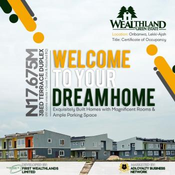Paradise at The Point!. Wealthland Green Estate. 3 Bedroom Terrace Duplex (all Rooms En Suite with an Attached Bq), Oribanwa, Ibeju Lekki, Lagos, Terraced Duplex for Sale