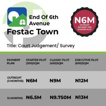 Land for Sale in Festac, End of 6th Avenue, Festac, Isolo, Lagos, Residential Land for Sale