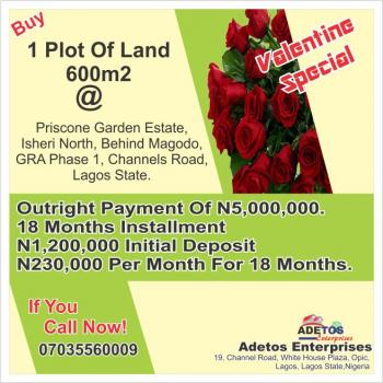 Priscone Garden Estate 600m2, Behind Magodo, Gra Phase 1, Channels Road, Gra, Isheri North, Lagos, Mixed-use Land for Sale