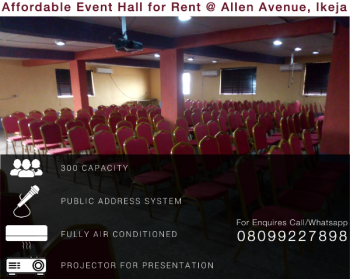Affordable Event Hall, 113, Allen Ave, Opp. Old Alade Market, Allen, Ikeja, Lagos, Hall for Rent