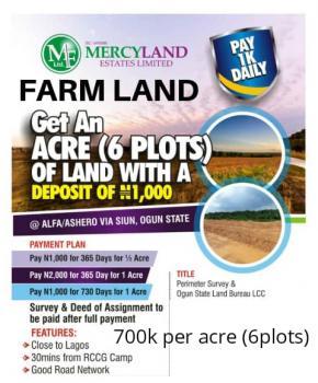 an Acre of Farm Land, Obafemi Owode, Ogun, Industrial Land for Sale