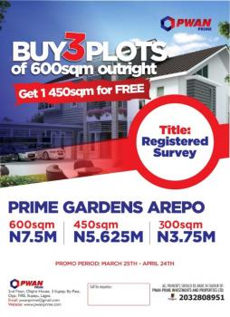 Land for Sale in Lagos, Prime Gardens Arepo Estate  (buy 3plots of 600sqm Outright and Get 1 450sqm for Free), 10 Mins After Berger, Along Lagos/ibadan Expressway, Ojodu, Lagos, Residential Land for Sale