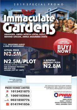 for Sale Residential Land in Awka @ Immaculate Gardens, Behind Unizik, Awka, Anambra, Mixed-use Land for Sale