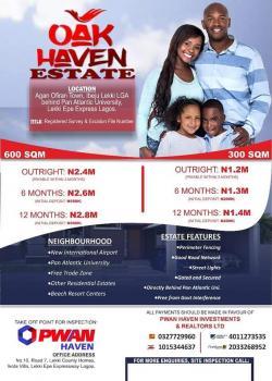 Oak Haven Estate, Back of Pan Atlantic University, Ibeju, Lagos, Residential Land for Sale