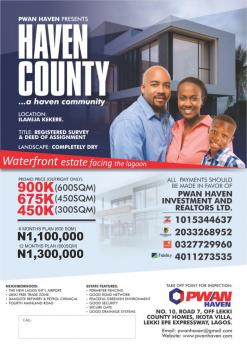 Land for Sale Haven County Estate, Back of Dangote Refinery Ilamija Kekere, Ibeju, Lagos, Residential Land for Sale