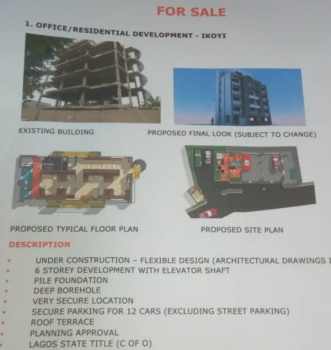 6 Storey Development with Elevator Shaft., James George, Old Ikoyi, Ikoyi, Lagos, Commercial Property for Sale