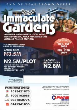 for Sale.immaculate Gardens.awka, Back of Unizik Amansea.obiano Filling Station Awka, Awka, Anambra, Residential Land for Sale