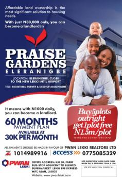 Phrase Gardens, Close to New Airport, Eleranigbe, Ibeju Lekki, Lagos, Residential Land for Sale