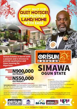 Plots for Sale in Orisun Estate Simawa and Mowe, Simawa, Behind Redemption Camp Rccg, Mowe Ofada, Ogun, Residential Land for Sale