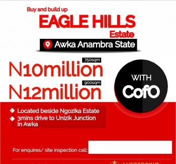 Land for Sale in Awka Eagle Hill Estate with C of O  in Developed Area, 3 Minutes From Unizik, Awka, Anambra, Mixed-use Land for Sale