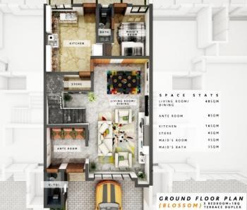 3 Bedroom Terrance Duplex with a Bq, Abijo, Lekki, Lagos, Terraced Duplex for Sale