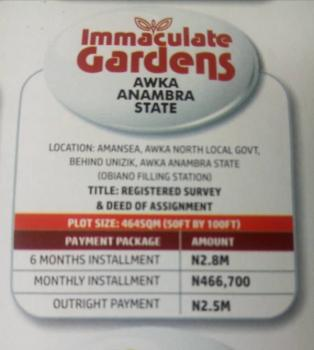 464sqm Estate Land in Awka, in Neighbourhood of Unizik, Awka, Anambra, Residential Land for Sale