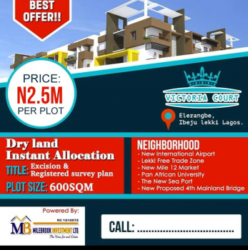 Land with Excision and Registered Survey Plan, Eleranigbe, Ibeju Lekki, Lagos, Mixed-use Land for Sale