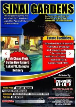 Dry and Legitimate Plots, Sinai Gardens, Oriba Road, Few Minutes to The Lekki Intll Airport, Eleranigbe, Ibeju Lekki, Lagos, Residential Land for Sale