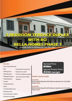 *3 Bedroom Terrace Duplex with Bq at Bella Homes 1, Close to Chevron Toll Gate Axis, Lekki*, Close to Chevron Tollgate Axis, Lekki, Lagos, Detached Duplex for Sale