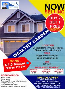 Estate Land Wealth Garden Excision Dry Promo: Buy 2 Plots & Get One, Coastal Road Before Dangote Refinery, Eleko, Ibeju Lekki, Lagos, Residential Land for Sale