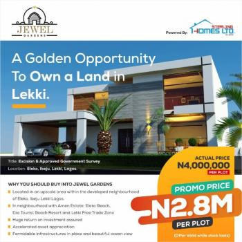 Jewel Gardens Is Beautiful, Well Laid Out Enclave in a Serene and Developed Neighborhood of Eleko Town in Ibeju Lekki, Jewel Gardens Is Situated Along The Lekki Coastal Road That Link Ibeju Lekki to Victoria Island Surrounded By The Breathtaking View of The Ocean Side, with Its Good Land Title and Complete Documents, It's Within The Neighborhood of Lekki Free Trade Zone,, Eleko, Ibeju Lekki, Lagos, Residential Land for Sale