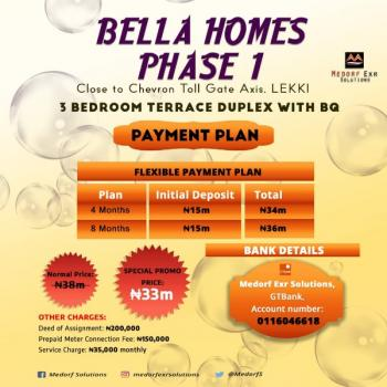 an Exquisite and Well Structured  3 Bedroom Terraced Duplex with Bq, Bella Homes, Close to The Toll Gate Axis at Chevron, Lekki Phase 2, Lekki, Lagos, Terraced Duplex for Sale