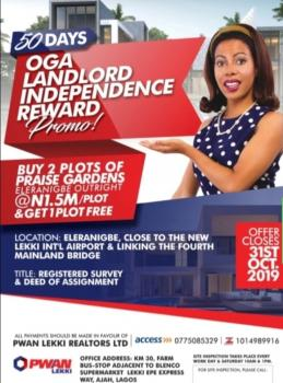 Estate Land, Dangote Refinery, Close to Proposed Airport, Eleko, Ibeju Lekki, Lagos, Residential Land for Sale