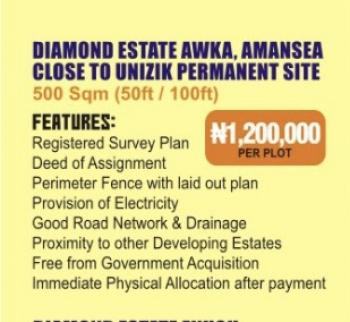 Estate Land, Amansea Behind Unizik Permanent Site, Awka, Anambra, Residential Land for Sale