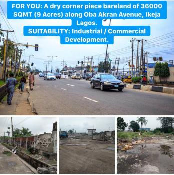 a Well Positioned  Corner Piece Land Measuring 36,000 Sqm (9 Acres), Along Oba Akran Avenue, Oba Akran, Ikeja, Lagos, Commercial Land for Sale