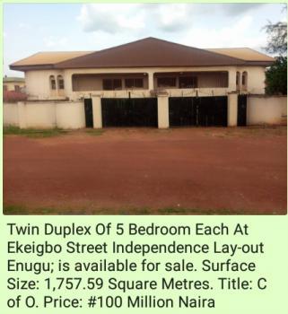 Twin Duplex of 5 Bedroom Each Separate Compounds, Independence Layout, Enugu, Enugu, Detached Duplex for Sale