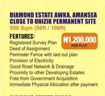 Estate Land, Amansea Behind Unizik Permanent Site, Awka, Anambra, Residential Land for Sale