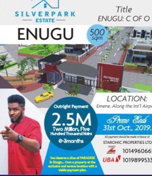 C of O Estate Land, Along Airport Road, Emene, Enugu, Enugu, Residential Land for Sale
