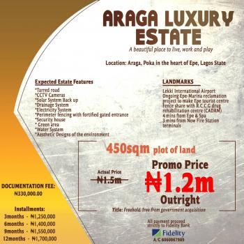Estate Land, 3 Minutes From New Fire Station Terminals, Epe, Lagos, Residential Land for Sale
