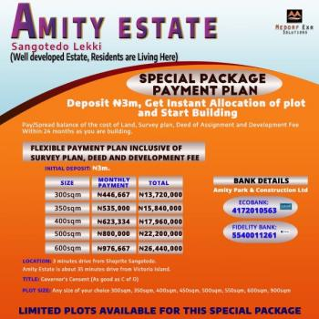 Amity Estate with a Perfect Title/document Governor's Consent, Instant Allocation, Buy and Build. Clients Living in The Estate, Sangotedo, Ajah, Lagos, Residential Land for Sale