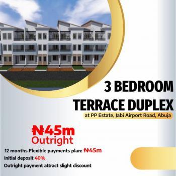 Exquisite 3 Bedrooms Terraced Duplex, Pp Estate, Airport Road, Jabi, Abuja, Terraced Duplex for Sale