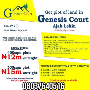 Genesis Court , Before, Ajah, Kelli, Lagos, Close to Cooperative Villa Estate, Badore, Ajah, Lagos, Residential Land for Sale