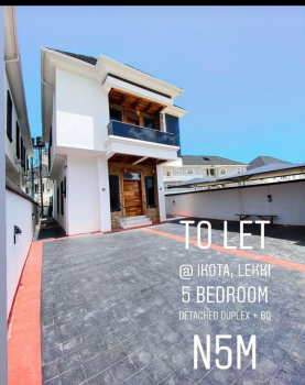 Luxury 5 Bedroom Detached Duplex with Bq, Ikota Villa Estate/ Behind Mega Chicken, Ikota, Lekki, Lagos, Detached Duplex for Rent