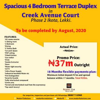 Terraced Duplex, Creek Avenue Court 5 Mins Drive From Dangote Refinery, Akodo Ise, Ibeju Lekki, Lagos, Terraced Duplex for Rent