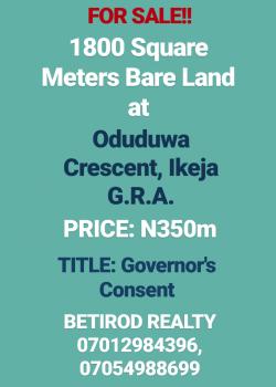 2 Units of 1800 Square Meters Bareland, Ikeja Gra, Ikeja, Lagos, Residential Land for Sale