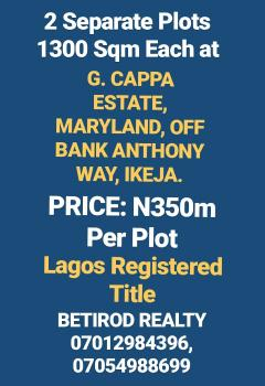 1300 Square Meters Bare Land, G. Cappa Estate, Maryland, Lagos, Residential Land for Sale