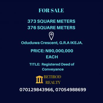 373 Square Meters Bare Land, Ikeja Gra, Ikeja, Lagos, Residential Land for Sale